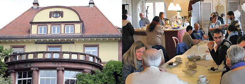 Blick auf und in die Villa Jaenisch, der Haus der Begegnung in Kaiserslautern.