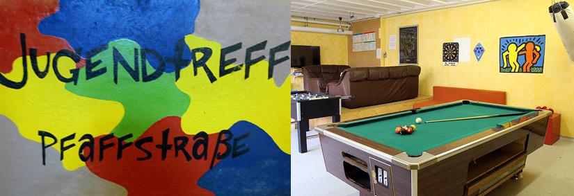 Einblick in den Kinder- und Jugendtreff des ASZ in Kaiserslautern. Hier zu sehen ist ein Billard Tisch und eine Sitzgruppe mit einem TV.