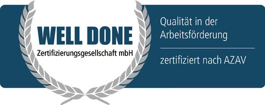 """Logo """"Well Done"""" für Qualität in der Arbeitsförderung."""
